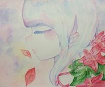 あなただけのためにオリジナルで絵を描きます。水彩色鉛筆で色を塗るので淡い色合いになります。