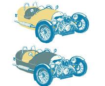 お気に入りの車をアート風スケッチにします 飾ったりプレゼントとしてオシャレな車のイラスト