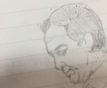 写真をもとに似顔絵を描きます。