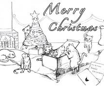 【ラフスケッチ】ペンで猫のイラストを描きます。