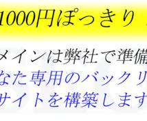 1000円であなた用のドメインからリンクします 弊社独自選定の中古ドメインであなた専用の被サイトを作成