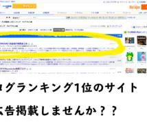 月間10万超PVのサイトに格安で広告掲載します ブログランキング1位の人気ブログに30日1000円から掲載☆