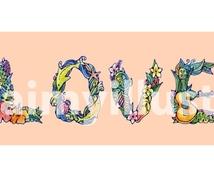 アルファベット、名前の文字イラスト描きます 誕生日祝い、結婚祝い、ペアアイコンにもオススメ