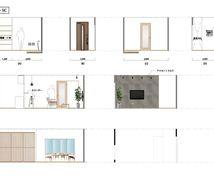 おしゃれな空間づくりをサポートします 展開図に実際の壁紙やカウンター色をイラレで加工します。