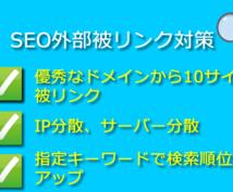 SEO対策。10本の良質ドメインで被リンクします 上位表示実績多数。SEO対策のプロが検索順位を改善します。