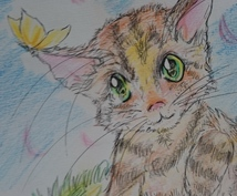 写真を元に猫のイラスト描きます