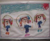 お子様が描いた絵をクロスステッチの図案にします お母様がクロスステッチ刺繍をして記念に残してあげて下さい