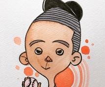 ゆるいタッチのオシャレな似顔絵を描きます SNSのアイコンにぴったりのサイズ!デザイン的で新しい☆