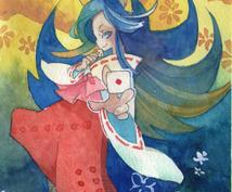【年賀ハガキにできます】コミック系水彩画描きます。