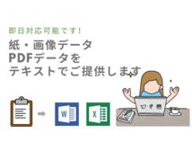 即日◎紙・PDF・画像データをテキスト化いたします パソコン不慣れ・時間がないあなたの代わりにテキスト化します!