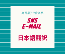 SNS・メールの日本語訳を24時間以内に納品します バイリンガルがニュアンスを汲みとります