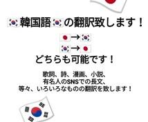 ネイティブの言い回し韓国語⇔日本語を翻訳します 韓国語→日本語、又は、日本語→韓国語の翻訳を致します!!