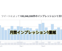 月間1億インプレッション超垢!【格安】で宣伝します 1ツイート平均約57万インプレッション。5万インプ保証付。