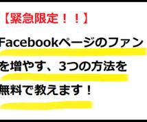【数量限定無料公開】Facebookページのファンを増やす3つの方法