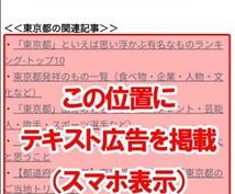 地域特化型の広告を月間40万PVブログに掲載します 指定された都道府県の関連記事の中に広告テキストとリンクを掲載