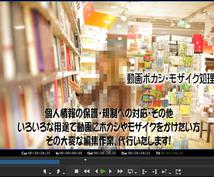 動画にモザイクを入れます 動画にボカシやモザイクを入れて公開可能な状態にします。