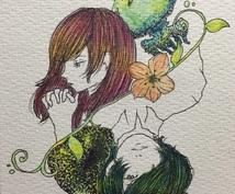 あなただけの一枚を描きます。+¥500で、ポストカードサイズの原画郵送いたします!