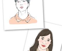 シンプルで可愛い似顔絵お描きします パステルトーンでおしゃれな雰囲気♡