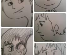 似顔絵を鉛筆で一発描きします。シンプルな絵